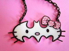 Hello Kitty Batman necklace-- the best of both worlds Hello Kitty Jewelry, Wonderful Day, Batman, Cat Party, Cat Necklace, Girly Things, Mini, Headbands, Geek Stuff