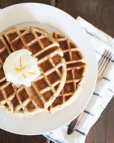 Whole Wheat Pumpkin Waffles with maple and orange yogurt   1/4 c butter, melted  1 cup fresh pumpkin puree (see roasting instructions in thi...