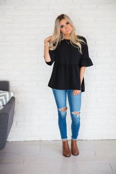 Danielle Black Peplum Top
