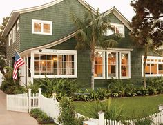 green exterior, white trim. Nice clean look