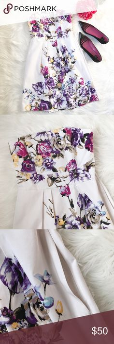 WH|BM Floral Pocket Dress Gorgeous floral strapless dress includes optional straps (tucked inside) and pockets! So cute. Fully lined with a side zipper. Perfect condition! 💖💐 White House Black Market Dresses Strapless