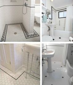 Black and white classic floor tile patterns to pair with subway tile. Vintage Bathrooms, Dream Bathrooms, Beautiful Bathrooms, Tile Bathrooms, Small Bathrooms, Bathroom Fixtures, Bathroom Flooring, Bathroom Trends, Bathroom Ideas