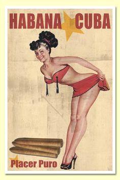 Cuban Cigar Pinup Girl Vintage MAP Havana Cuba Tobacco Print Art Poster - Measures high x Wide high x Wide) Pinup Art, Pin Up Girls, Pub Vintage, Vintage Cuba, Cigar Art, Pin Up Girl Vintage, Pin Up Posters, Good Cigars, Nose Art