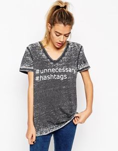 Enlarge ASOS T-Shirt with V Neck in Burnout with Hashtag Print