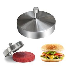 Stainless Steel Burger Press Hamburger Maker Non Stick Patty Mold Ideal for for sale online Hamburger Maker, Hamburger Patties, Burger Party, Burger Press, Good Burger, Crab Cakes, Venison, Wax Paper, Bbq Grill