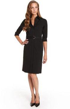 ShopStyle: Three-Quarter Sleeve 'Dashina' Belted Shirt Dress by BOSS Black
