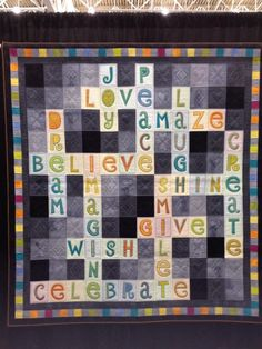 Scrabble quilt that could be easily personalized.