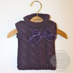 Baby Knit Sweater with Bow (Purple): The Classy Dog - Designer Dog Clothes, Luxury Dog Beds