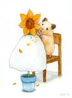Japanese Hamster, Surealism Art, Funny Hamsters, Dibujos Cute, Butterfly Painting, Cartoon Art Styles, Cute Little Animals, Felt Crafts, Cute Drawings