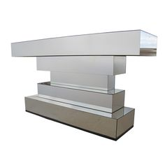Mid Century Modern Floating Mirrored Console  #1stDibs