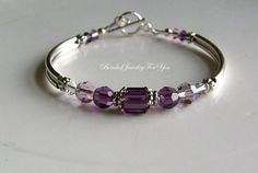 Wedding Bracelet - Amethyst Swarovski Crystal Cube Bridesmaid Bangle Bracelet