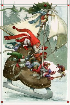 A Skate Across the Pond by David Wenzel ~ Christmas ~ Kringle Hollow ~ elves