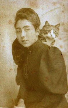 Victorian woman and cat