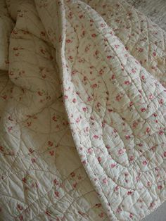 Antique, French hand stitched Rosebud Quilt ~ dating from 1900 - 1920's ~ what a treasure to own~❥