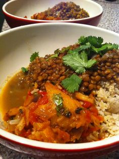 Black lentils, salty fish rougaille and rice