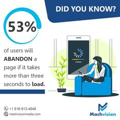 According to a recent #Googlestudy, more than half of mobile visitors will leave if the website takes longer than three seconds to load. Is your site fast enough to keep users around? If not, #MachvisionMeida can help your website load at top speeds. Contact us at +1 516-513-4548 to speak with a specialist! #websitespeedoptimization #websiteoptimization #onpageseoservices #bestseoagencyinusa #seoagencyinusa #seoservices #websitedevelopmentservices #seo #whitelabeseo Web Design Services, Seo Services, Email Marketing, Digital Marketing, Website Optimization, Seo Agency, Best Seo, Print Ads, Top