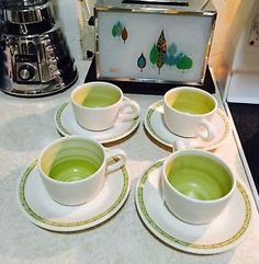 Vintage 1960's Franciscan Earthenware Mod Hacienda Green 4 Cups & Saucers