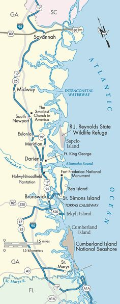 GA: Charleston to Savannah, GA, then off the Darien (or maybe further South, if time allows) to find lodging around Darien or Brunswick.