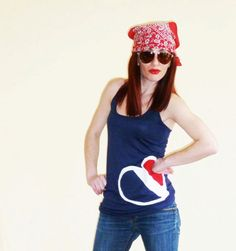 Summer Women Vest with Fabric Handmade Heart Flag by zigzagflag, $33.00