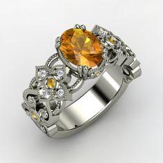Oval Citrine 14K White Gold Ring with Citrine