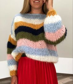 Colors / beautiful knit by Knitted Jumper Outfit, Chunky Knit Jumper, Mohair Sweater, Knitting Designs, Crochet Designs, Knitting Patterns, Couture, Big Knits, Knit Fashion