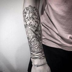 Sea inspired engraving style half sleeve.