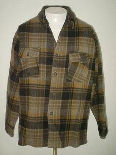 Vintage 60s 70s CPO Wool Plaid Shirt Jacket Gray Mens Medium #Vintage60s70s #BasicJacket