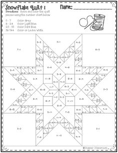 Free Snowflake Quilt Color by Code for Multiplication Facts up to 12 x 12 Star Quilt Patterns, Star Quilts, Pattern Blocks, Quilt Blocks, Snowflake Quilt, Snowflakes, Math Resources, Math Activities, Camping Activities