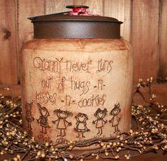 Primitive Grandma's Kids Cookie Jar Personalized by Pleasantvalleyprims, $50.00