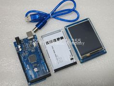 """Free shipping! 3.2"""" TFT LCD Touch + TFT 3.2 inch Shield + Mega 2560 R3 with usb cable for Arduino kit"""