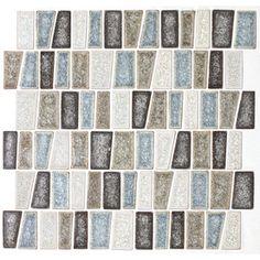 American Olean Delfino Crackle Sea Side Glass Mosaic Indoor/Outdoor Wall Tile (Common: 12-in x 12-in; Actual: 12-in x 12-in)