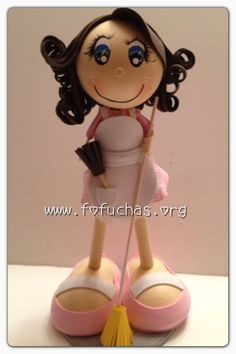 Housewife Fofucha Doll.Give someone a special gift. Handmade fofucha Doll is made using foam sheets. She is handmade. Can be customized. Like hair color, outfit color. eye color. She stands at 12 inches tall. would make a great gift, decor. to order visit my website www.fofuchas.org #Housewife #fofuchas #crafts