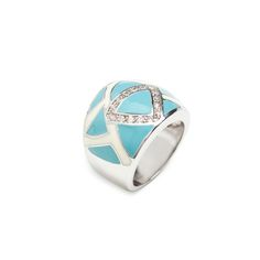 Love this! Found it on Kathy's Jewelry Boutique We're loving Chloe's combo of sky blue geometric designs and CZ sparkle. This unique piece is equal parts artisan and glam! Add a pop of color with Chloe.