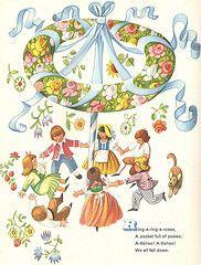 "Hayfever Hop  by Wojtech Kubasta, from ""Little Jack Horner and Other Nursery Rhymes"", Paul Hamlyn 1961."