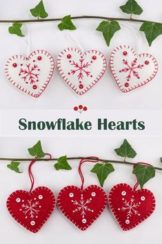 Handmade red and white felt snowflake Christmas ornaments.These Scandi style heart ornaments are made from  felt, embroidered with snowflakes and finished with tiny buttons.They come in a set of three, and each heart has a different snowflake design. They each have a loop for hanging as an ornament or attaching to a Christmas gift. Each heart is 7cm/2.75 inches high.#feltchristmasornaments #scandichristmas #snowflakeornaments Scandinavian Christmas Ornaments, White House Christmas Ornament, Felt Christmas Decorations, Christmas Owls, House Ornaments, Felt Christmas Ornaments, Snowflake Ornaments, Snowflakes, Xmas