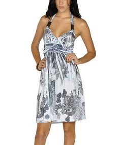 White & Black Sublimation Halter Dress by Lagaci #zulily #zulilyfinds
