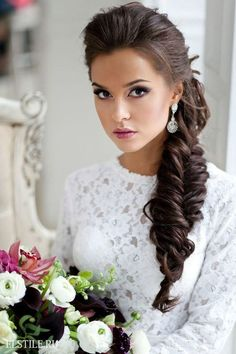 Beautiful Bridal Hairstyle and Makeup   Side Braid   Formal Hairdo   Long Hairstyle