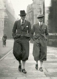 Cambridge Undergraduates c. 1926  these pants are so awkward!!!! but so great! how and why were these worn!!