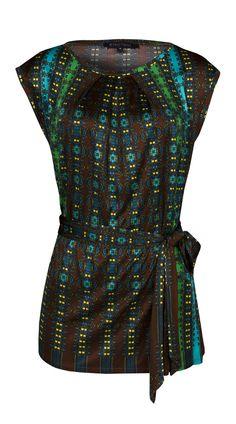 ETCETERA - MARRAKESH | $225  204866  LIGHTWEIGHT, RAYON/SILK MARRAKESH-INSPIRED FOULARD STRIPE TIE-BELTED TUNIC.
