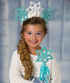 "Original pinner said, ""Snow Princess Tiara & Wand Free Crochet Pattern from Red Heart Yarns"