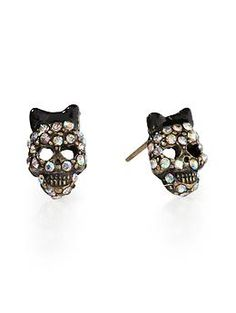 I heart Betsey.     Small Crystal Skull Stud Earring  by Betsey Johnson