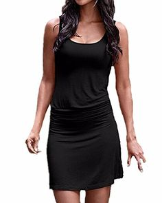 ZANZEA Women's Sexy Boho Sleeveless Backless Low Cut Bodycon Short Mini Dress Black US 14/ASIAN XL. Size Guide: Click any color option and find our size chart at the left photo gallery. US Size: US 4/S, US 6-8/M, US 10-12/L, US 14/XL. Material: Polyester(elastic). Feature: Short, sleeveless jersey dress, fake two pieces and pleated at waist. Package included: 1 Dress.