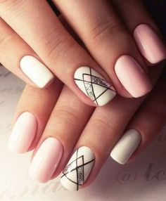 Unique and Creative Geometric Nail Designs For You. If you are looking for nail art designs and are still undecided then you are in the right place. We have put together unique ve beautiful geometric nail designs for you. Love Nails, Pretty Nails, Fun Nails, Style Nails, Nail Art Design Gallery, Cute Nail Art Designs, Pretty Designs, Pale Pink Nails, White Nails
