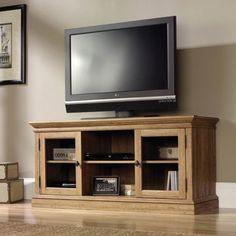 """Sauder Barrister Lane Scribed Oak Entertainment Credenza for TVs up to 60"""" - Walmart.com"""
