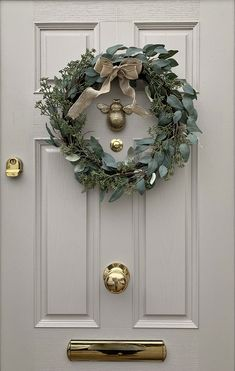Front Door Makeover Grey & Gold Composite Door with wreath Timber Front Door, Grey Front Doors, Beautiful Front Doors, Painted Front Doors, Exterior Front Doors, Best Front Door Colors, Front Door Paint Colors, Entry Doors, Cottage Front Doors