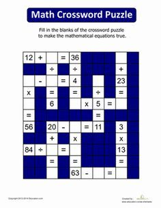 Math Crossword Worksheet