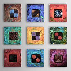 met de hand geschilderde abstracte olieverf met gestrekte frame - set van 9 – USD $ 97.99