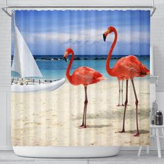 - Shower Curtains - gifts t-shirts blankets- - Shop Your Gift Emporium Henrico VA Flamingo Shower Curtain, Custom Shower Curtains, Easy Install, Cold, Gallery, Beach, Prints, Hooks, Personality