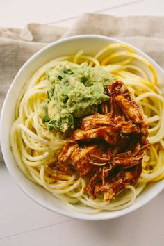 BBQ Shredded Chicken and Squash Noodle Bowls with Avocado-Cilantro Mash