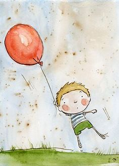 George, Who played with a Dangerous Toy by Hilaire Belloc And suffered a Catastrophe of considerable Dimensions. When George's Grandmamma was told That George had been as good as Gold, She Promised in the Afternoon To buy him an Immense BALLOON. Balloon Illustration, Children's Book Illustration, Character Illustration, Watercolor Illustration, Watercolor Art, Art Illustrations, Drawing For Kids, Art For Kids, Its A Boy Balloons